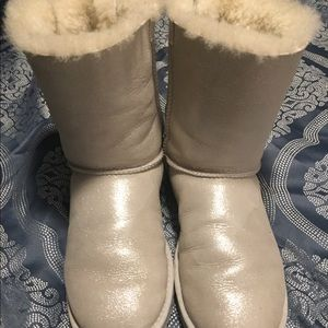 Size 10 Ugg boots with ribbons & rhinestones